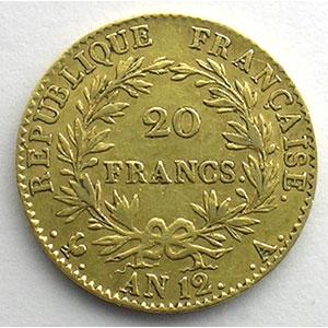 20 Francs   Bonaparte Premier Consul   AN 12 A  (Paris)    TTB