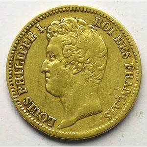 20 Francs   Louis-Philippe I   1831 A  (Paris)   coins tournés à 80° anti-horaire    TB+