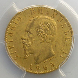 20 Lire   1865 T  (Turin)    PCGS-MS63    SUP/FDC