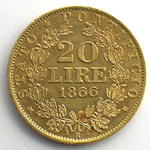 20 Lire   1866-XXI R    TTB+/SUP