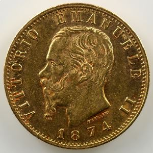 20 Lire   1874 M BN  (Milan)    TTB+/SUP