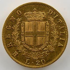 20 Lire   1876 R  (Rome)    TTB+/SUP