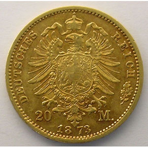 20 Mark   1873 E  (Dresde)    TTB+/SUP