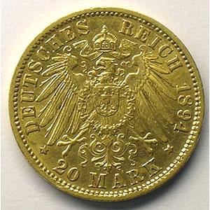 20 Mark   1894 G (Karlsruhe)    TTB+