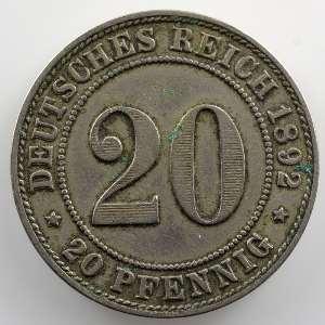 20 Pfennig   1892 F    TB+/TTB