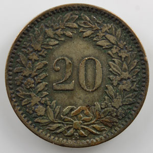 20 Rappen   1859 B    TB+/TTB