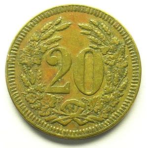 20 (Rappen) 1922   Lt, R,   21 mm   TTB
