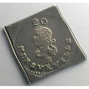 20 Sols   1709   flan carré en argent    TTB+