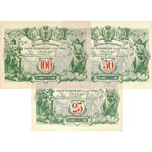 25, 50 & 100 Francs    NEUF