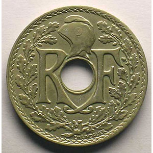25 Centimes 1932   coins tournés à 150° anti-horaire    TTB