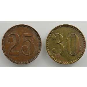 25 et 30 Rappen   (21mm)    TTB