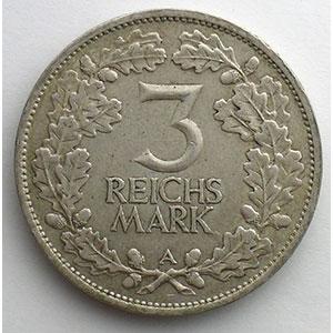 3 Reichsmark   1925 A   Rheinlande    TTB