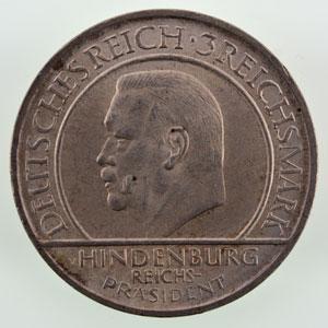 3 Reichsmark 1929 A (10° anniversaire de la constitution de Weimar) SUP/FDC