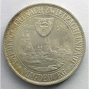 3 Reichsmark   1931 A   Magdeburg, Stadtbrand vor 300 Jahren    SUP