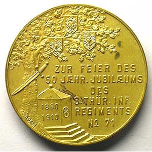 3. Thüringisches Inf. Regiments N°71   50 Jahrfeier 1860-1910   médaille en bronze doré   28mm    SUP