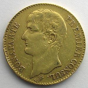 40 Francs   Bonaparte Premier Consul   An XI A  (Paris)   coins tournés à 120° anti-horaire    TB+/TTB