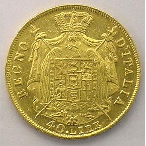 40 Lire   Napoléon I   1811 M  (Milan)    TTB/TTB+