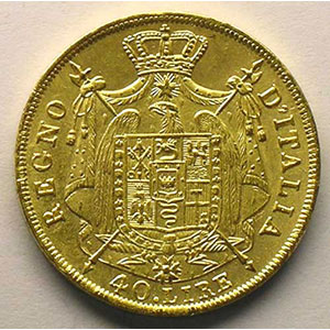 40 Lire Napoléon I   1814 M  (Milan)    TTB+