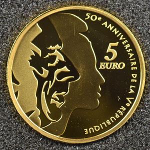 5 €   2008   50° anniversaire de la V° république    BE