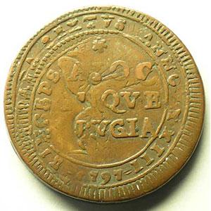 5 Baiocchi   PERUGIA   1797   surfrappée sur 2 1/2 Baiocchi au St Pierre   PERUGIA   1796 ou 1797    TTB