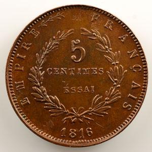 5 Centimes   Napoléon II    1816 Essai    TTB+/SUP