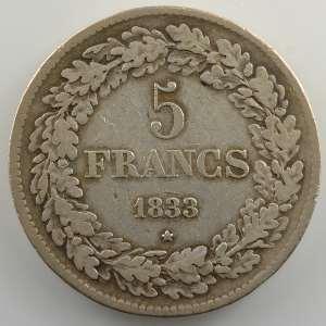 5 Francs   1833 position B    TB+