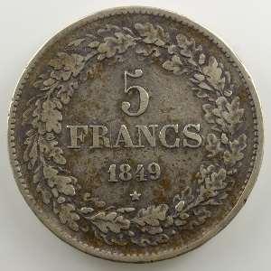 5 Francs   1849 tranche en relief    TB+