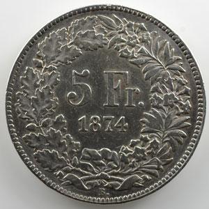 5 Francs   1874 B. (Bruxelles)    TTB