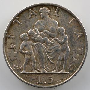 5 Lire   1937  XV  R  (Roma)    TTB