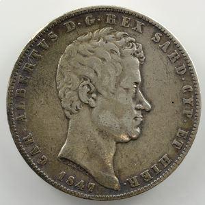 5 Lire   Charles-Albert (1831-1849)   1847 P ancre  (Gênes/Genova)    TB+