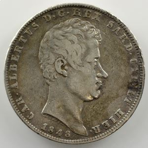 5 Lire   Charles-Albert (1831-1849)   1848 P ancre  (Gênes/Genova)    TB+