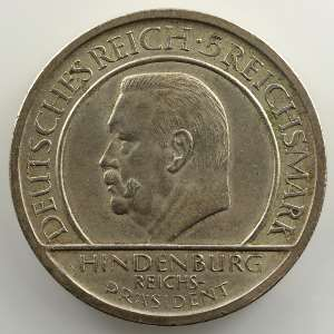 5 Reichsmark   1929 A   (10° anniversaire de la constitution de Weimar)    SUP
