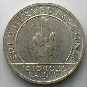 5 Reichsmark   1929 G   (10° anniversaire de la constitution de Weimar)    TTB+