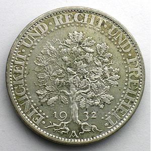 5 Reichsmark   1932 A   Eichbaum    TB+/TTB