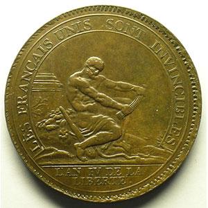 5 Sols   1792, An IV   cuivre    SUP