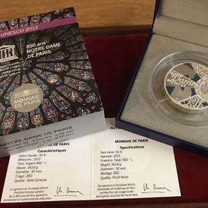 50 €   Unesco - 850 ans de Notre Dame de Paris   2013   163.8 g argent 950 mill.    BE