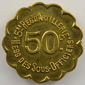 50 c   laiton, rond festonné  23mm   (Besançon)    FDC