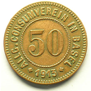 50 (Rappen) 1913   Cu, R,   23 mm   TB+/TTB