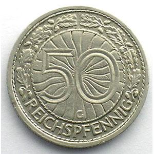50 Reichspfennig   1933 G    TTB