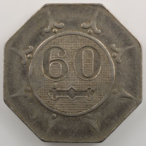 60 (centimes)   Laiton nickelé, octogonal  25mm    TTB