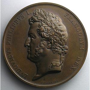 A. Bovy   Médaille en bronze   68mm   Inauguration des nouvelles salles du Musée du Louvre   1834    SUP/FDC