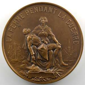 ALLOUARD H.   Médaille en bronze  59mm   La femme pendant la guerre   Ses vertus   1918    SUP/FDC