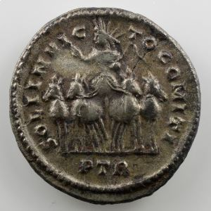 Argenteus de billon   R/ SOLI INVICTO COMITI   (Trèves / Trier 312)    TTB