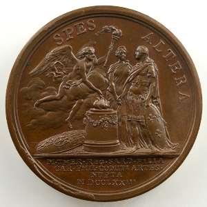 B. Duvivier   Mariage du comte d'Artois (futur Charles X) avec Marie-Thérèse de Savoie   bronze   41mm    SUP/FDC