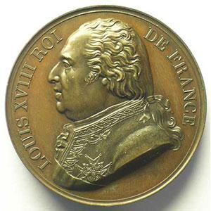 BARRE/DUBOIS   Crédit Public rétabli   1818   bronze   40mm    SUP/FDC