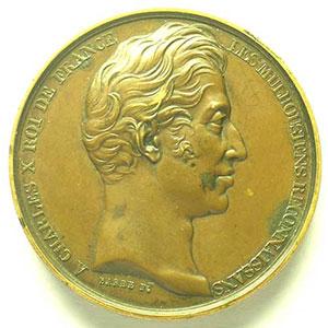 BARRE   Visite de Charles X et du Dauphin le 11 septembre 1828   cuivre  41mm    TTB+