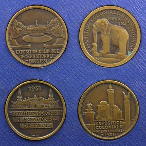 Bazor, Morlon, Mouroux, Desvignes   Coffret de 4 Médailles en cuivre  32mm   Exposition coloniale internationale, Paris 1931    SUP/FDC
