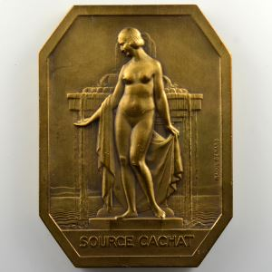 BENARD Raoul   Plaquette rectangulaire aux coins coupés en bronze  68x50mm   Source Cachat - Exposition Canine Evian    SUP