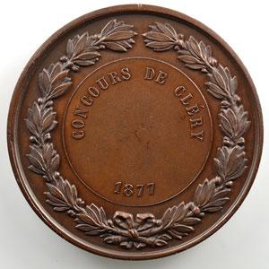 Bescher   Concours de Cléry   Médaille en cuivre  51mm   1877    SUP/FDC