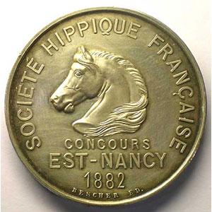 BESCHER   Société Hippique Française   Est-Nancy   1882   argent poinçon corne   42mm    SUP